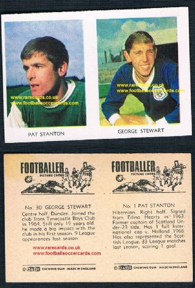 1966 A&BC Scottish coloured pair 30 G Stewart Dundee 1 Pat Stanton Hibs Celtic